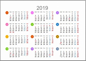 2019年年間カレンダーA5シンプル版_月曜始まり
