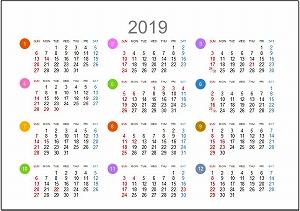 2019年年間カレンダーA5シンプル版_日曜始まり