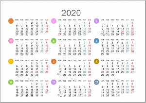 2020年年間カレンダーA5シンプル版_月曜始まり