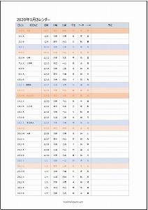 2020年1月エクセルA4カレンダー:旧暦タイプ
