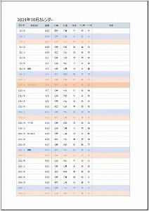 2021年10月エクセルA4カレンダー:旧暦タイプ