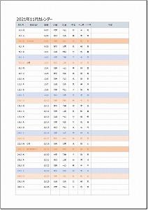 2021年11月エクセルA4カレンダー:旧暦タイプ