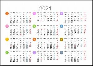 2021年年間カレンダーA5シンプル版_月曜始まり