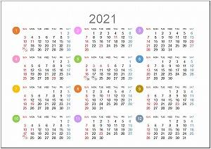 2021年年間カレンダーA5シンプル版_日曜始まり