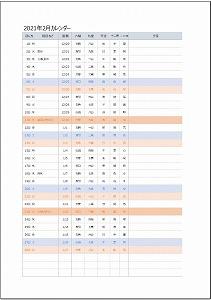 2021年2月エクセルA4カレンダー:旧暦タイプ