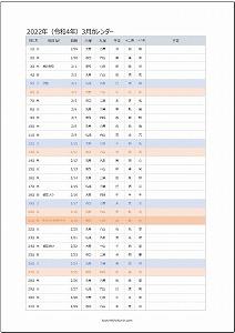 2022年3月エクセルA4カレンダー:旧暦