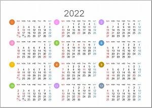 2022年(令和4年)年間カレンダーA5シンプル版_日曜始まり