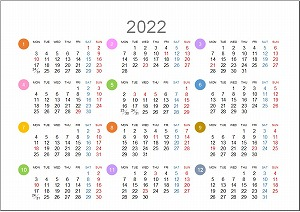 2022年(令和4年)年間カレンダーA5シンプル版_月曜始まり