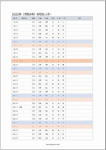 2022年8月エクセルA4カレンダー:旧暦
