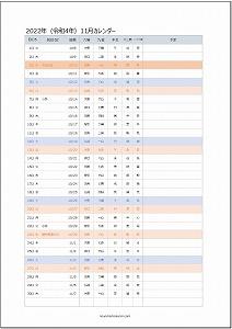 2022年11月エクセルA4カレンダー:旧暦